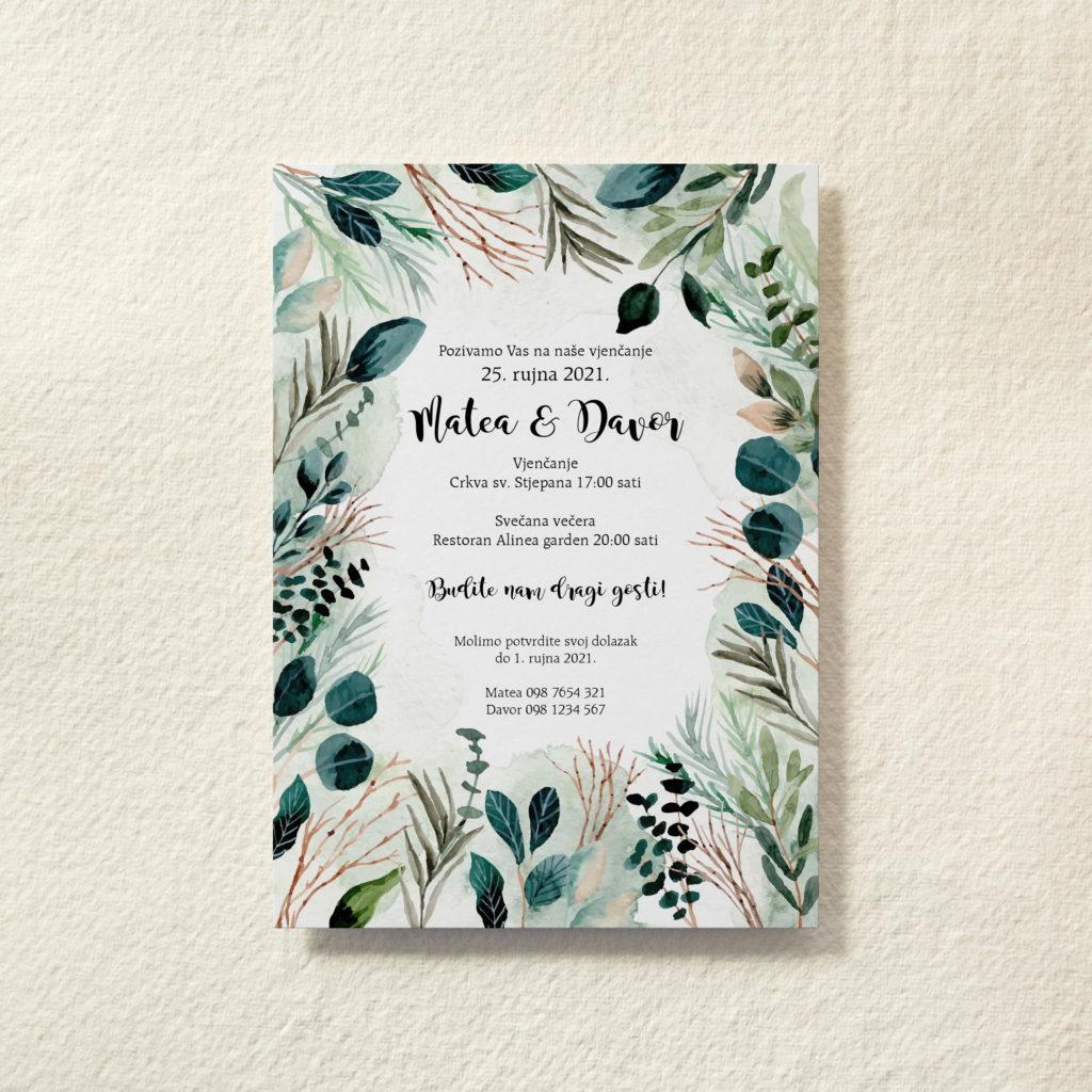 iziwedd pozivnica za vjenčanje sa zelenim listićima