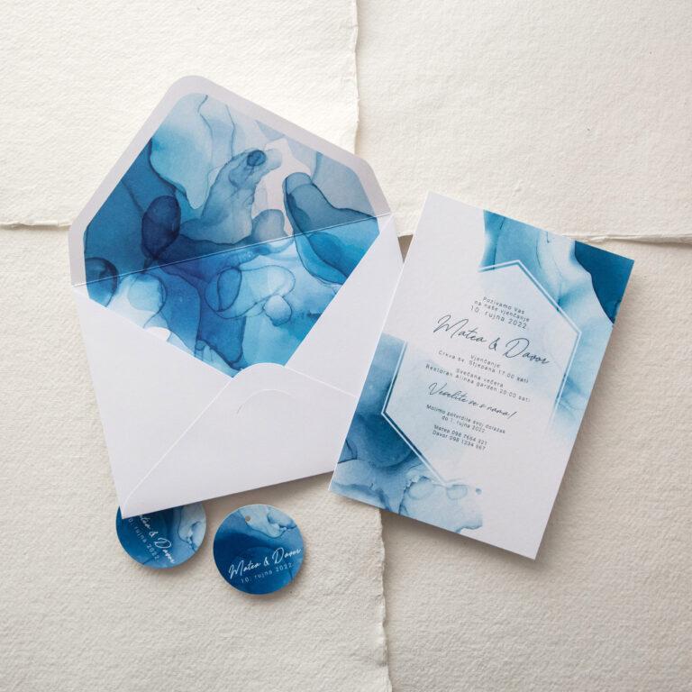 pozivnica plava boja akvarel